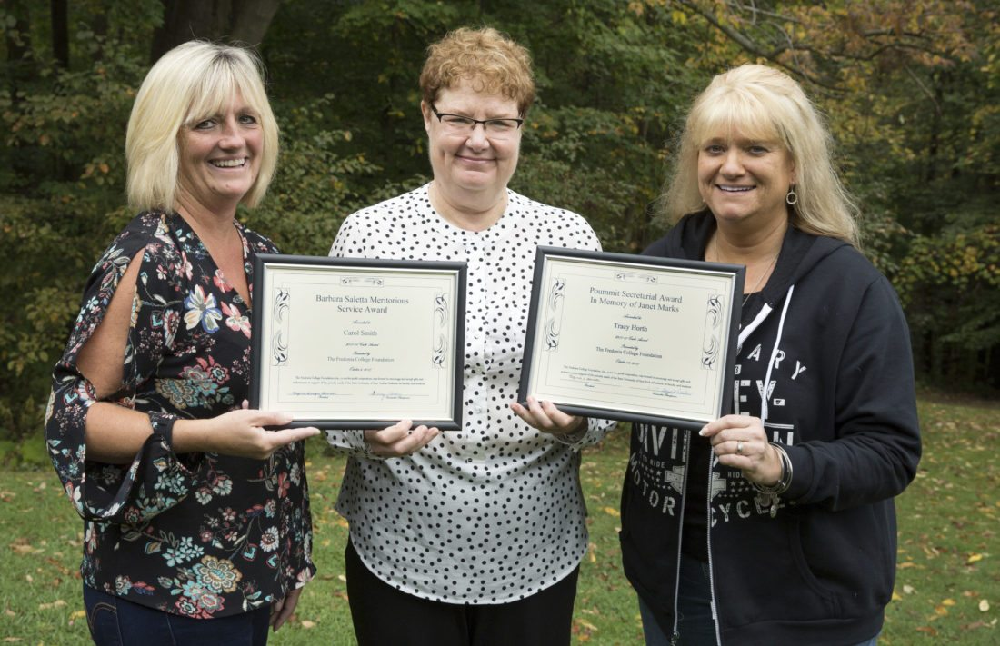 Submitted Photo Provost and Vice President for Academic Affairs Terry Brown, center, joins Carol Smith, left, and Tracy Horth, right, who were recipients of the Barbara Saletta Meritorious Service Award and Poummit Secretarial Award in Memory of Janet Marks, respectively.