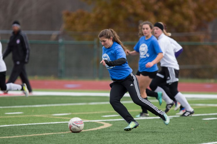 Photo by Tim Frank Dunkirk forward Emilee Hanlon controls the ball for the Blue Team in Sunday's Chautauqua County Senior All Star soccer game in Jamestown.
