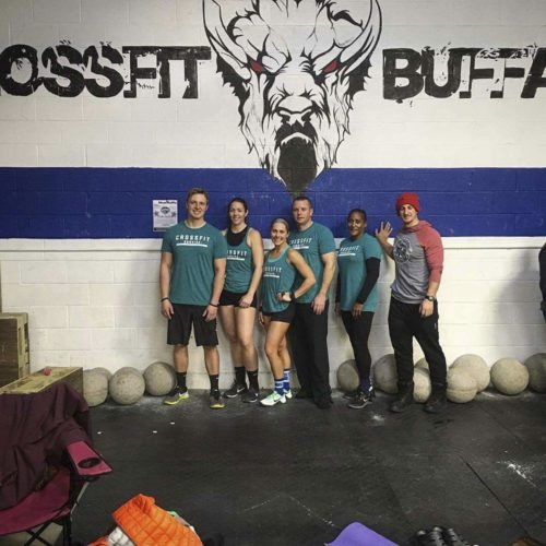 Submitted photo Pictured are members of the CrossFit Dunkirk teams that competed at Movember Throwdown on Saturday. They are, from left, Cody Felt, Denise Hayes, Allison Bevenue, Tom Delcamp, Omayra Mendoza and Josh Ledford.