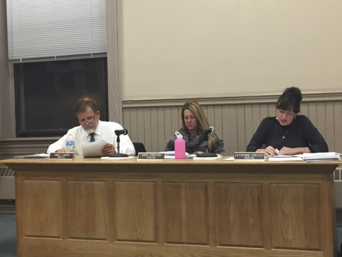 OBSERVER photo by Jimmy McCarthy On Monday, the Fredonia Village Board approved to set a public hearing regarding village sign restriction changes. The public hearing is set for Nov. 27 at 7:30 p.m. at the Trustees' Room, located on the second floor.