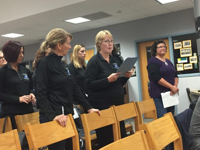 OBSERVER photo by Jimmy McCarthy Fredonia Middle School teacher Lynda Sentz speaks to board of education members at Tuesday's meeting regarding her and others' support of Middle School Principal Andrew Ludwig.