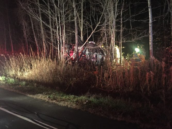 Paul K. Phillips rolled his rental car off the side of the road on Route 83 Thursday night.  Phillips said he swerved to miss a deer. He's driving a rental because he just hit a deer with his personal car recently. Phillips was transported to the Alstar landing pad to be star flighted to ECMC.