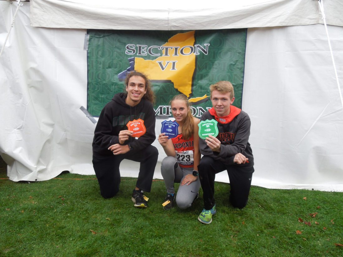Submitted Photo From left, CCAA Large School Runners of the Year, Diego Rey and Emily Brown, pose along with Fredonia cross country teammate and First-Team All Star, Josh Johnson, shortly after their state-qualifying performances in the cross country Sectional race at Bemus Point Golf Course.