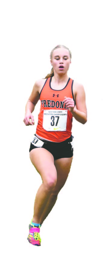 Submitted Photo Fredonia's Runner of the Year, Emily Brown, competing at the New York State Federation cross country race held at Bowdoin Park in Wappinger Falls. Brown finished 138th overall against a field of over 250 of New York state's best cross country runners.