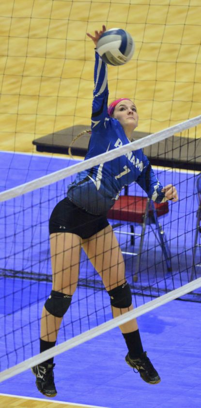 Photo by Scott Reagle Panama's Madalyn Bowen spikes the ball in Sunday's four-set loss in the state championship. Panama was looking to repeat as state champs.