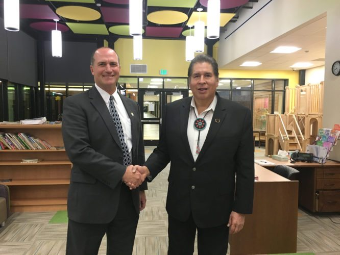 OBSERVER Photo by Andrew David Kuczkowski Pictured are Gowanda Superintendent James Klubek, left, shaking hands with Seneca Nation of Indians Cattaraugus Councilman Rick Jemison at the Early Childhood Learning Center. Gowanda Board of Education decided to have its meeting at the learning center as it also aimed to improve the relations between the district and the Nation.