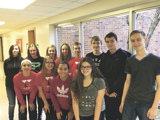Submitted Photo Students selected to NYSSMA All-State Ensembles this fall are, from the front row, Madonnina Gullo, Brena Manning, Selin Arnavut, and Savannah Salim. In the back row are Adeliz Gottinger. Mckenna Taylor, Alexandra Pucci-Schaefer, Madison Marsh, Trevor Napoli, Trace Silanpaa, Marcus Seastedt, and Jack Forster. Not pictured is Hannah Gullo.