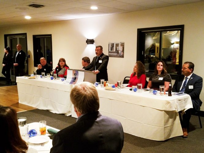 Submitted photo Dunkirk Mayor Wilfred Rosas speaks during the annual appreciation dinner of the Dunkirk Chamber of Commerce.