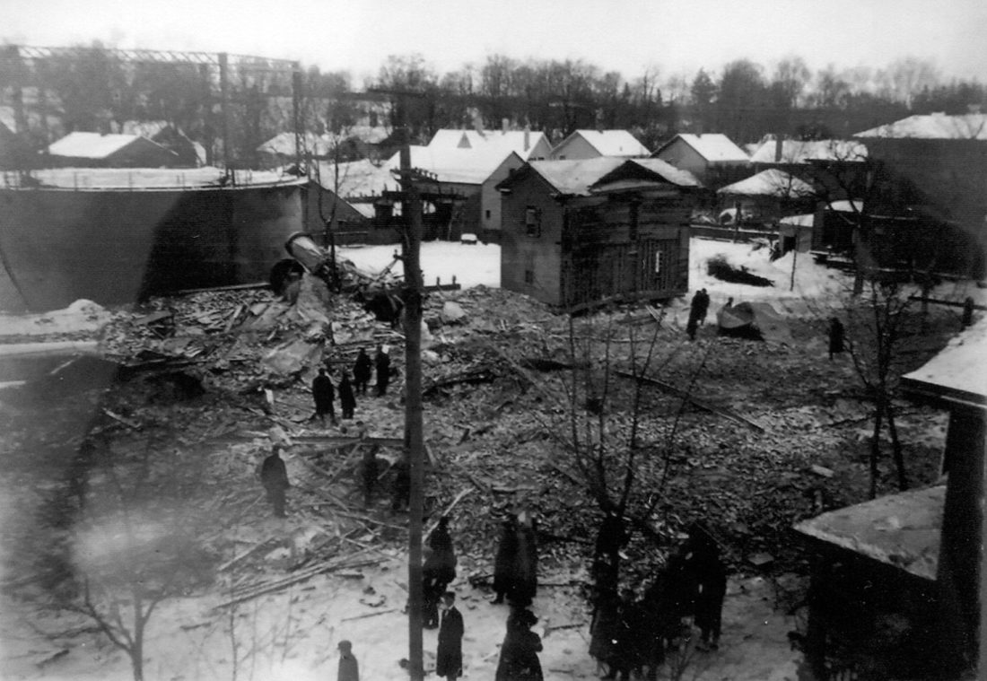 Photos courtesy of Barker Library and Sam Drayo At top: View from atop old fire hall showing rubble.