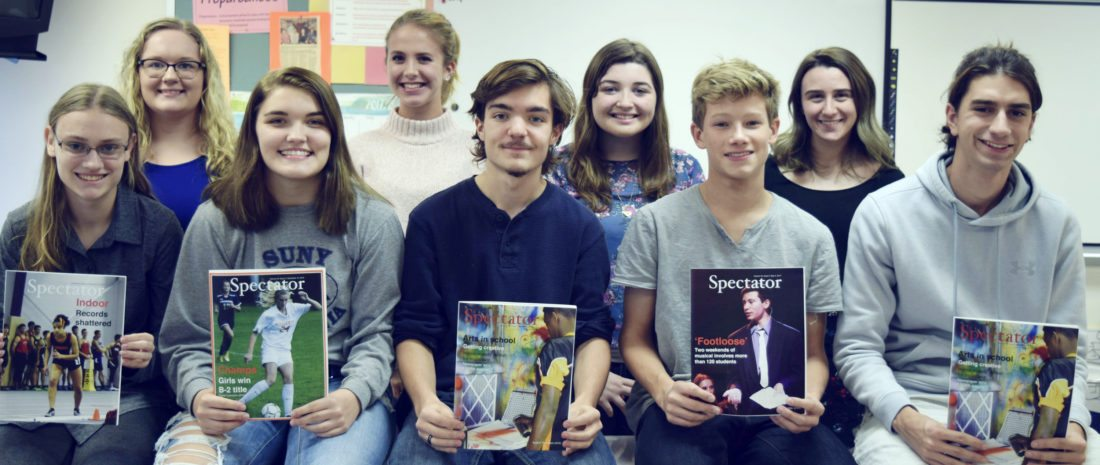 """Submitted Photo The Fredonia High School """"Spectator"""" staff received 45 awards from the Empire State School Press Association sponsored by Syracuse University's Newhouse School of Public Communications. Spectator staff (bottom row left to right): Aurora Merwin, Taylor Lemiszko, Casey Huber, Gabe Persch, Kevin Redfield (top row left to right) Lindsay Lotter, Ella Gould, Bre Rosen, Anna Schrauth. Missing from photo: Finn Frerichs and Laural Erick."""