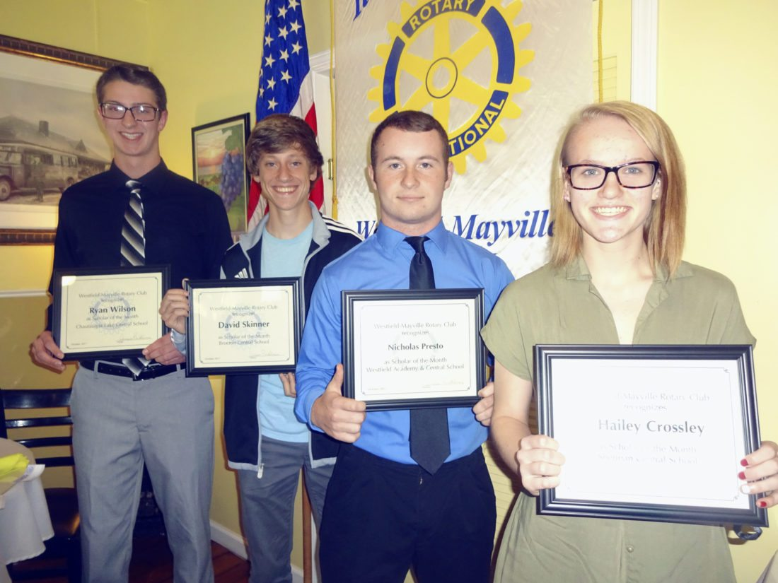 """Submitted Photo Four high school seniors were named """"Scholars of the Month"""" by the Rotary Club of Westfield-Mayville. They were (left to right) Ryan Wilson from Chautauqua Lake Central School, David Skinner from Brocton Central School, Nicholas Presto from Westfield Academy and Central School, and Hailey Crossley from Sherman Central School. The students received their recognition during this Rotary Club's Oct. 17 meeting, which was held at The Parkview in Westfield."""