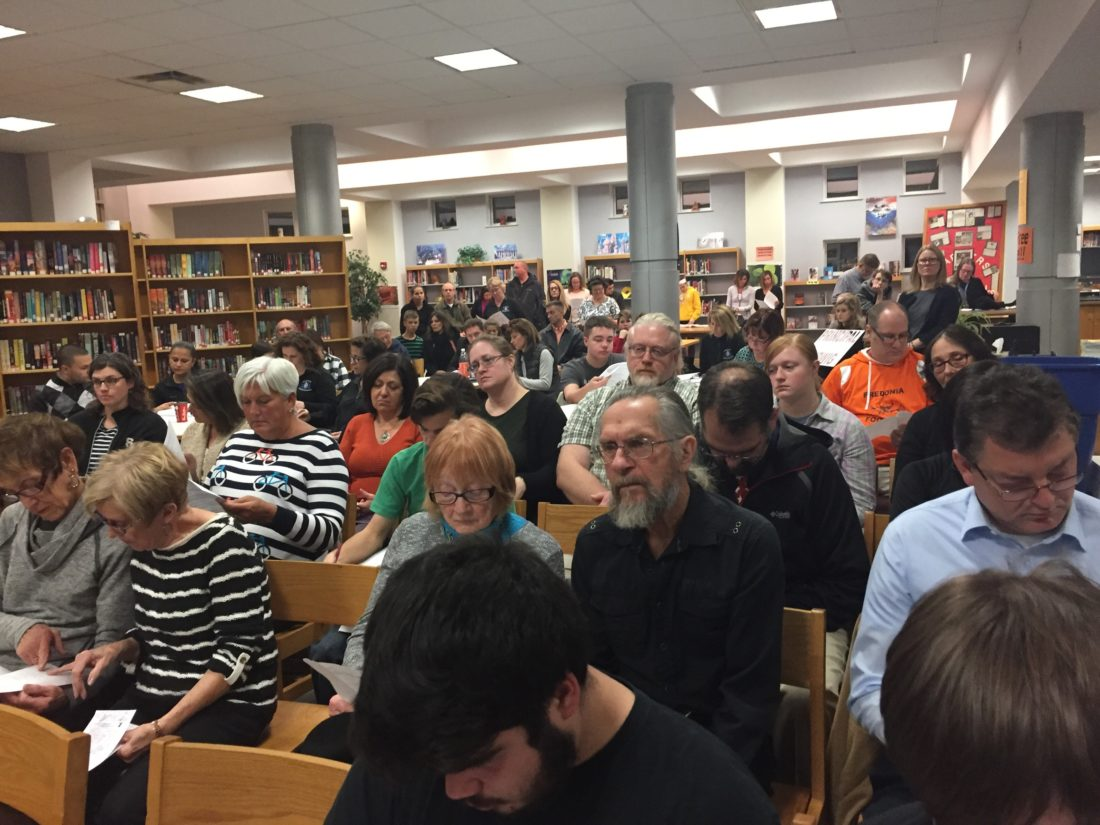 OBSERVERPhoto by Jimmy McCarthy The Fredonia High School Library was packed with teachers, parents and students who wanted answers regarding the absence of Middle School Principal Andrew Ludwig. No answers were given, however, as Michael Bobseine, board president, said it will come out in due time.