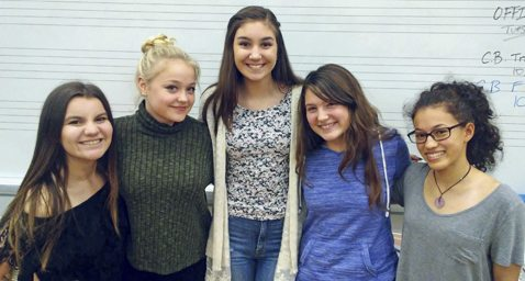 Submitted Photo  Pictured (left to right):Lake Shore High School students Elizabeth Sreniawski, Kaylee Guzman, Rebecca Myers, Chloe Budziszewski and Julie Ann Ketcher have been accepted into the Junior High Area All-State Honors Music Ensembles.