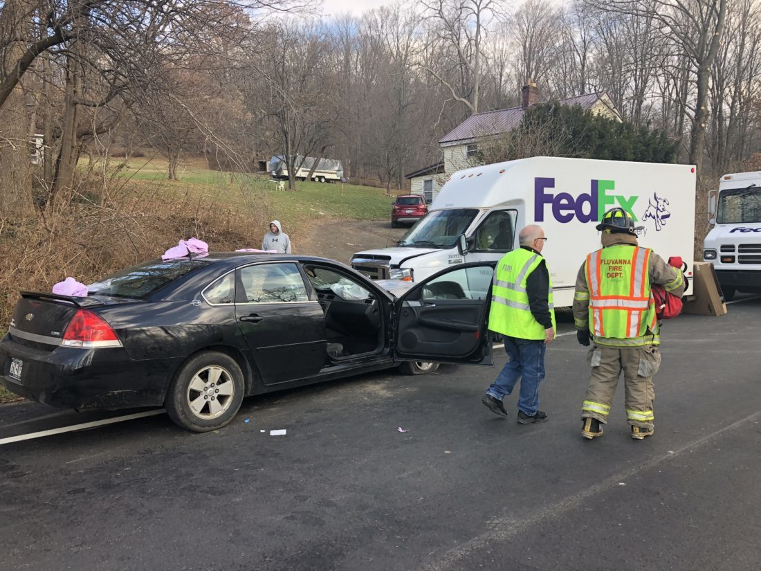 Two area residents were taken by helicopter to the hospital following a head-on crash with a parked FedEx truck on Route 430 in the town of Ellery.