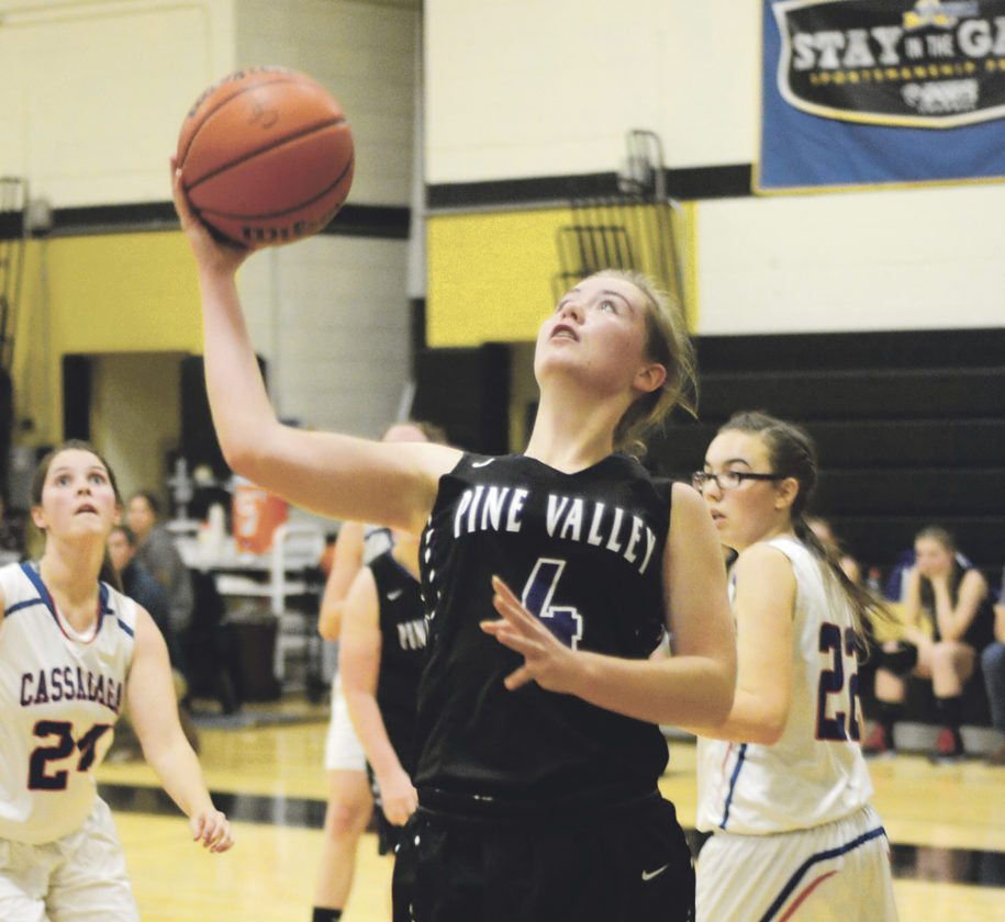 OBSERVER Photo by Justin Goetz Pine Valley's Kayla Hohl (4) goes for the layup against Cassadaga Valley at the Hae Jude tournament.