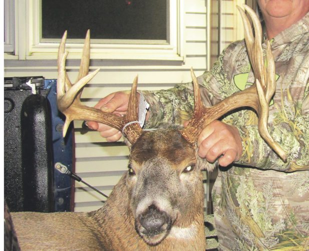 An impressive 12-point buck with two drop tines taken by Rob Gloff on Nov. 30.