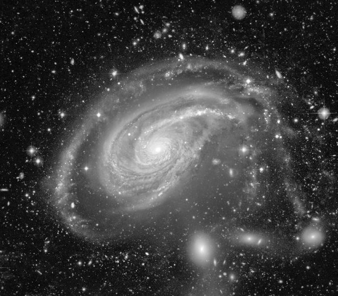Courtesy Canada-France-Hawaii Telescope/Coelum, Jean-Charles Cuillandre (CFHT) & Giovanni Anselmi (Coelum) NGC772 is an immense spiral galaxy twice the size of our Milky Way Galaxy. It lies 130 million light-years away toward the constellation Aries and can be spotted this month in a moderate size telescope.