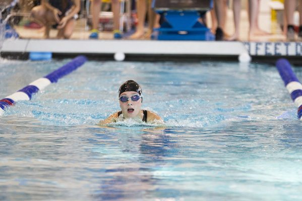 OBSERVER Photo by Mary Ann Wilberg Fredonia State's Sierra Parsons finished 15th in the 200-yard breast stroke in Sunday's Blue Devil Invite.