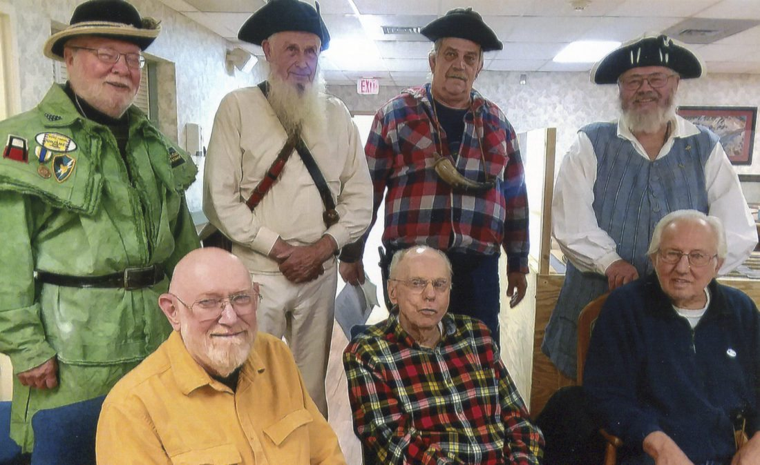 Submitted Photo Participants in the veterans program at Heritage Village are pictured. First row, left to right: Wayne Moller, US Army, 1961 to 1963, Ft. Hood, Texas; Bill Graves, US Navy, 1945 to 1947, South Pacific; Hank Storms, US Army, 1951 to 1952, Germany. Back row, left to right: SAR members Doug Arters, Jim White, Frank Stow and Jeff Crossley.