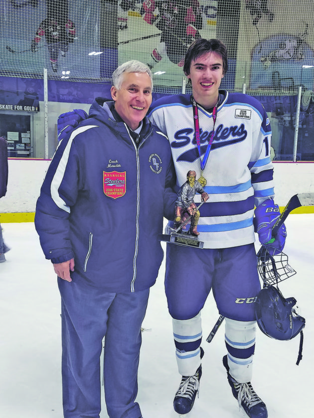 OBSERVER File Photo Jeff Meredith (left) poses with his son, Mike, in March. Jeff Meredith won his 400th game as Fredonia Blue Devils hockey coach Saturday. As seen in this picture, he is also an assistant coach for the Dunkirk Fredonia Steelers high school varsity hockey team; Mike starred on last season's state champion team.