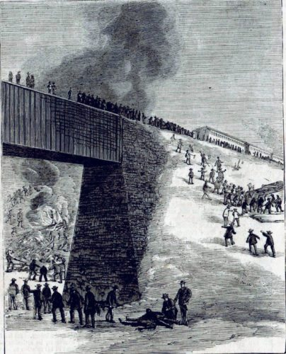 The Angola Railroad Disaster - Wrecks of the cars. Sketched by Erasmus W. Smith) for the HARPERS WEEKLY newspaper dated Jan. 11, 1868.