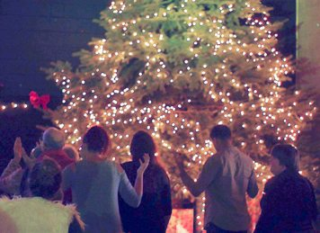 Submitted Photo Christian Worship Center of Fredonia lit a 17-foot Christmas tree on Sunday. Pastor Erika Lopez felt the tree should be extravagant because the true meaning of Christmas is that Jesus came to be the Light of the world to save all mankind. She added the decision this year to not use decorations was made to focus on the Light of the world. Many are hurting during this season, but when people focus on the true meaning of Christmas, they can celebrate joy, love and peace.