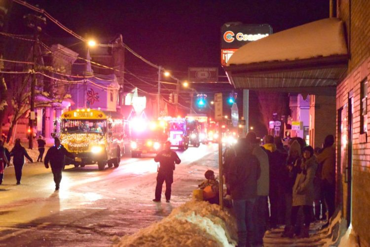 OBSERVER Photo by Andrew Kuczkowski The village of North Collins was lit up on Friday as the parade marched through.