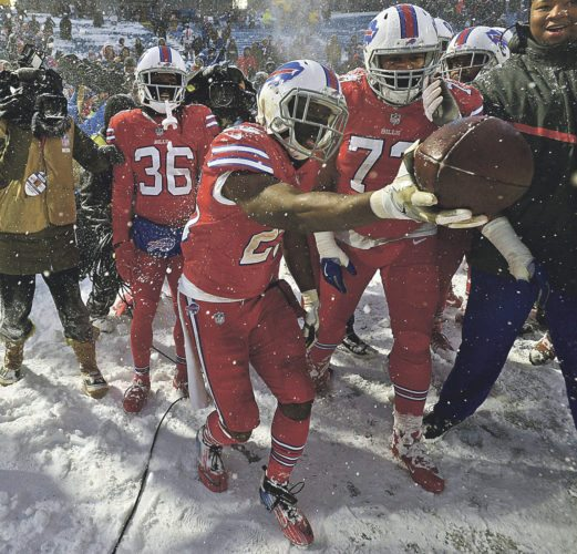 AP Photo Buffalo Bills running back LeSean McCoy reacts after scoring the winning touchdown during overtime at an NFL game against the Indianapolis Colts, Sunday, in Orchard Park.