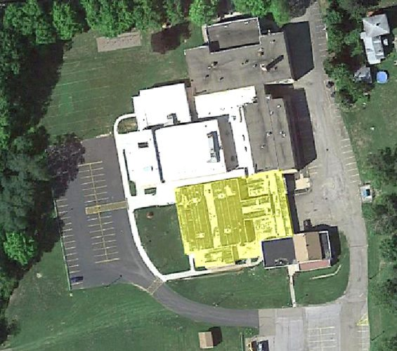 Pictured is an aerial view of the Forestville High School. The board is proposing a $3 million capital project, to be voted on in May 2018, part of which, if approved, will go toward replacing the 62-year-old roof.