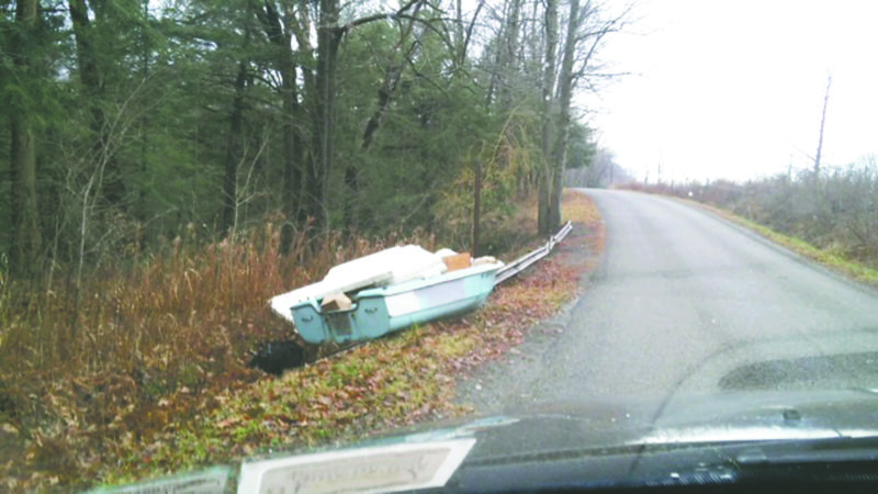 Submitted Photo This boat was found on Webster Road in Arkwright last Thursday.