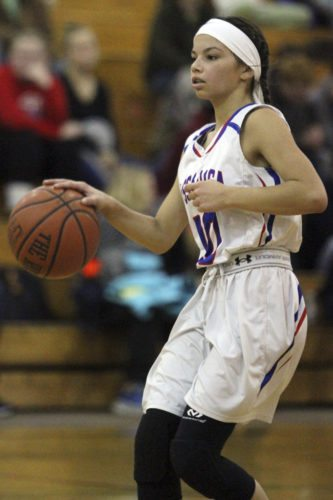 OBSERVER Photo by Lisa Monacelli Cassadaga Valley's Bella Ruiz dribbles during Wednesday's game.