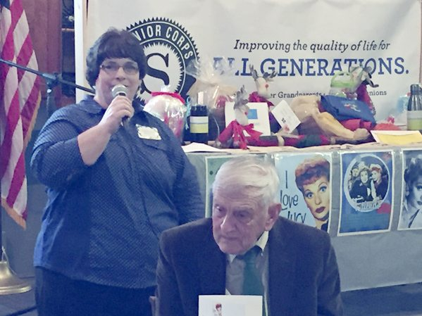 Submitted Photo Brenda Weiler, Chautauqua County RSVP project coordinator addresses the guests at the 2017 RSVP Volunteer Extravaganza. In the foreground is Rev. Rodney Houck, RSVP Advisory Council member.