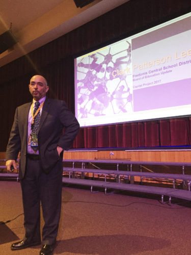 OBSERVER photo by Jimmy McCarthy Fredonia Schools' Superintendent Jeffrey Sortisio discusses the 2017 capital project proposal during a public presentation at the High School auditorium Friday. Residents within the school district will have the chance to vote for the project Tuesday from 2-9 p.m. at the cafeteria. Sortisio said the project has zero impact to the tax levy since 95 percent of the project is eligible for state aid.