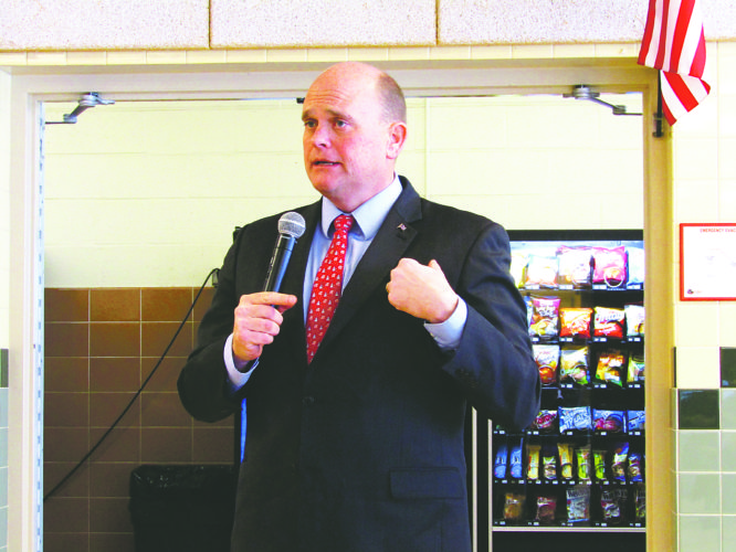OBSERVER Photo by Greg Fox U.S. Rep. Tom Reed  speaks at a public forum in the Silver Creek High School cafeteria Saturday.