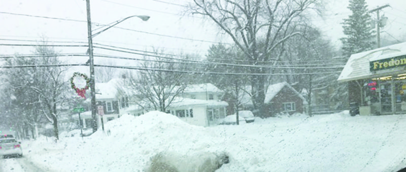Snow piles up in downtownFredonia