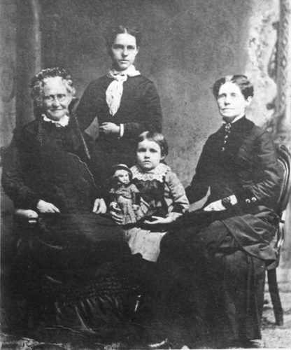 Photos Courtesy of Darwin R. Barker Historical Museum (McLaren Collection) Top: Four generations of Mark Twain's family were photographed circa 1880 in Fredonia where they lived for several decades. Above, at far left is Twain's mother, Jane Clemens. At the far right is his sister, Pamelia Moffett, a founder of the WCA Home in Fredonia. In the center are Pamelia's daughter, Annie Webster, and Annie's daughter, Alice Jane.