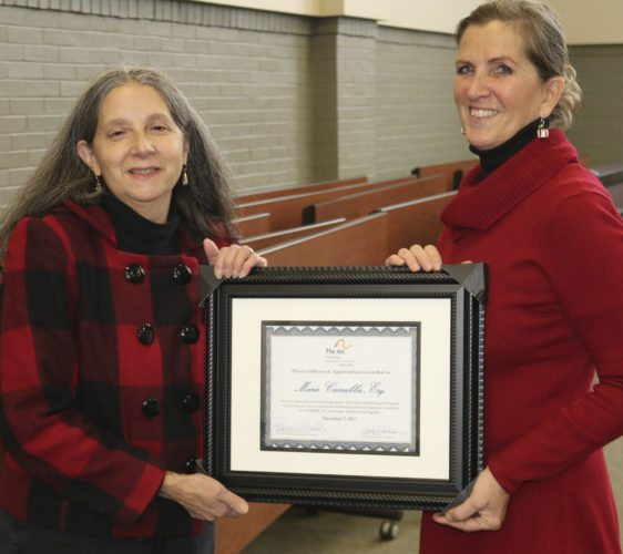 Submitted  Photo: Tess Kerzner, right, presents the certificate of appreciation to Marie Carrubba.