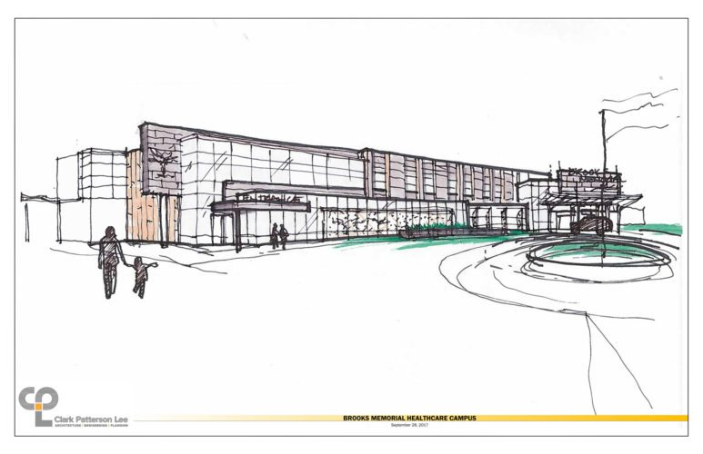 Above is a sketch of the proposed Brooks Hospital, which will be built on Route 20 in the town of Pomfret.