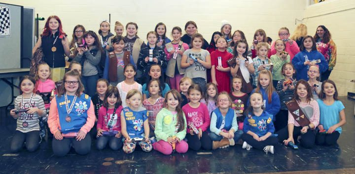 Pictured are the participants in the recent Powderpuff Pinewood Derby Race held by five different Hanover-area Girl Scout troops.