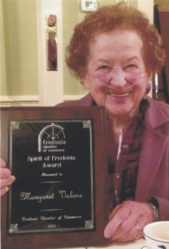 Submitted Photo Margaret Valone is pictured with the Spirit of Fredonia Award she received in 2015.