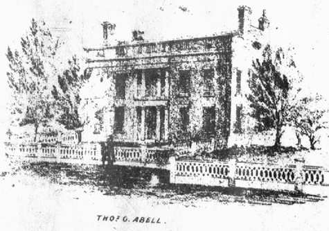 Sketch of the Thomas G. Abell house from the 1851 Map of Fredonia.