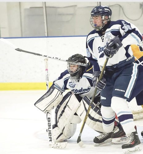 OBSERVER file photo by Ron Szot Pictured in this file photo is Zach Rybak and Gabrial Persch. Rybak, right, had a goal against Olean, while Persch, left, combined with Nicolas Novelli for 19 saves in Sunday's win.