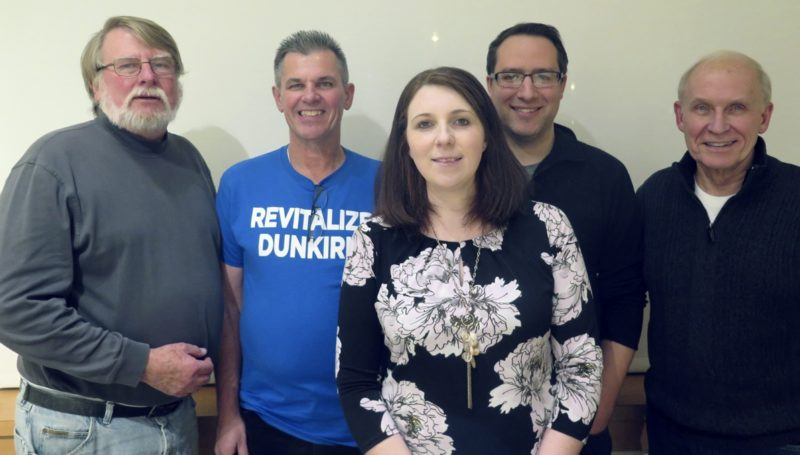 Submitted Photo Pictured from left are recently elected Revitalize Dunkirk Board of Directors members Steve Rees, Jim Fisher, Nicole Waite, Josiah Lamp and Allen Hollander. Absent is Charlotte Herlong.