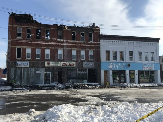 Photo by Katrina Fuller A second fire in Falconer damaged more downtown businesses and residences on Sunday. On Monday, the community came together to support one another in what will be another time of need.