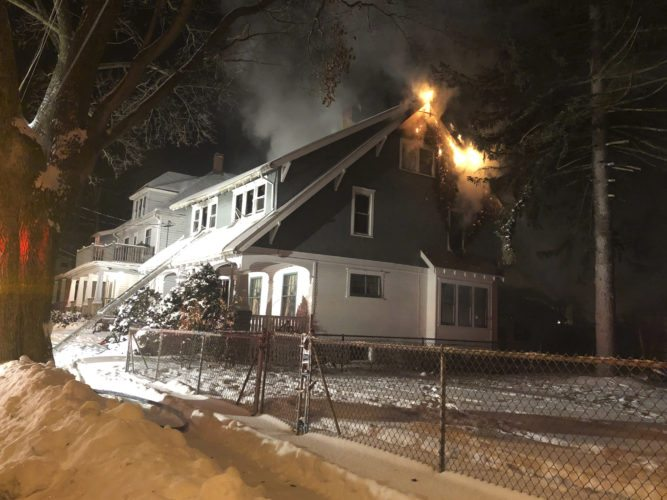 Photo by Eric Tichy A Jamestown man died after a fire broke out at his Carey Place residence early Thursday. A city fire official said space heaters placed near combustible material likely sparked the blaze.