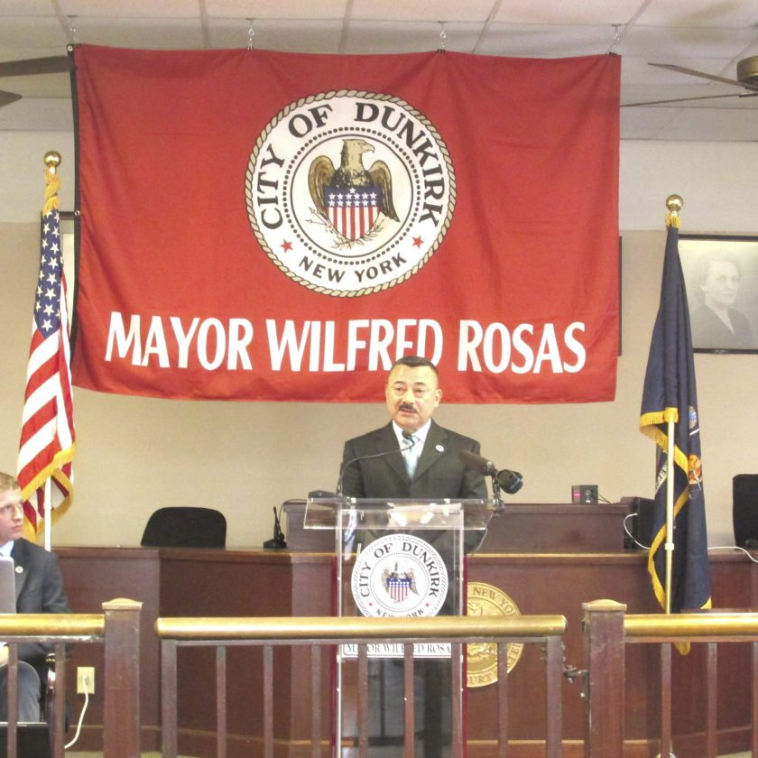 Dunkirk City Mayor Wilfred (Willie) Rosas addressed a packed courthouse during Friday's State of the City Address.