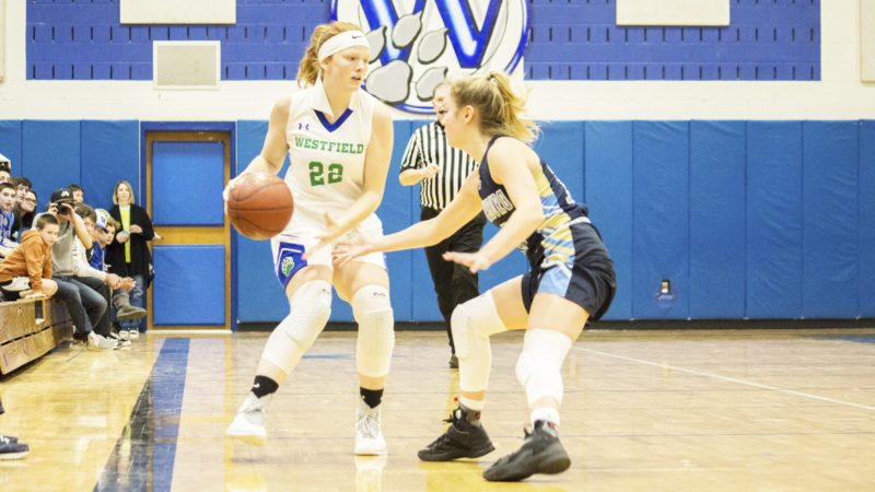 OBSERVER Photo by Brandon Soto Westfield-Brocton's Juliana Smith (22) looks to make a pass in a Friday night high school basketball game against Frewsburg.