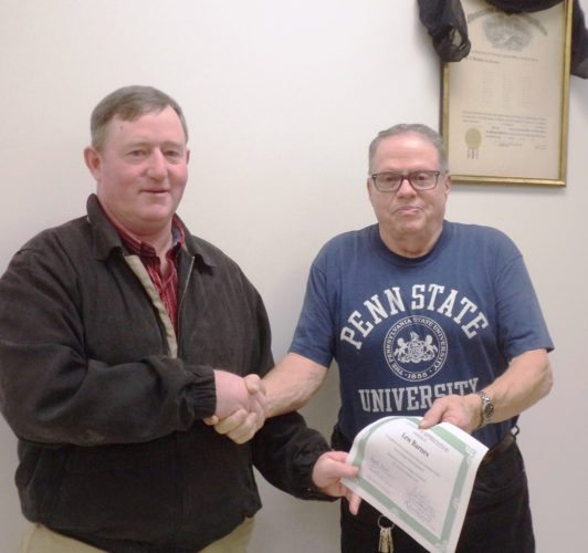 Submitted Photo Ripley Town Supervisor Doug Bowen gives a certificate of appreciation to Lew Barnes, who resigned from the town planning board after six years of service.
