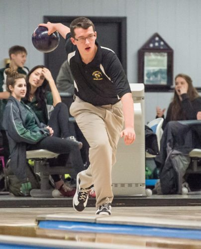 Zach Barlette-Dye bowls for the Forestville Hornets during their match with Brocton, Monday at Lucky Lanes.