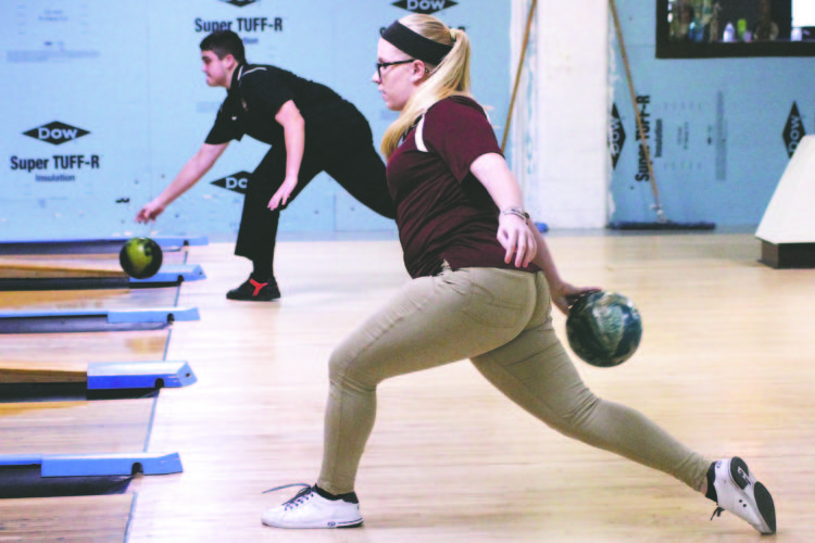OBSERVER Photo byLisa Monacelli Makayla Pasierb strides towards the lane in Tuesday's girls varsity bowling match against Silver Creek.